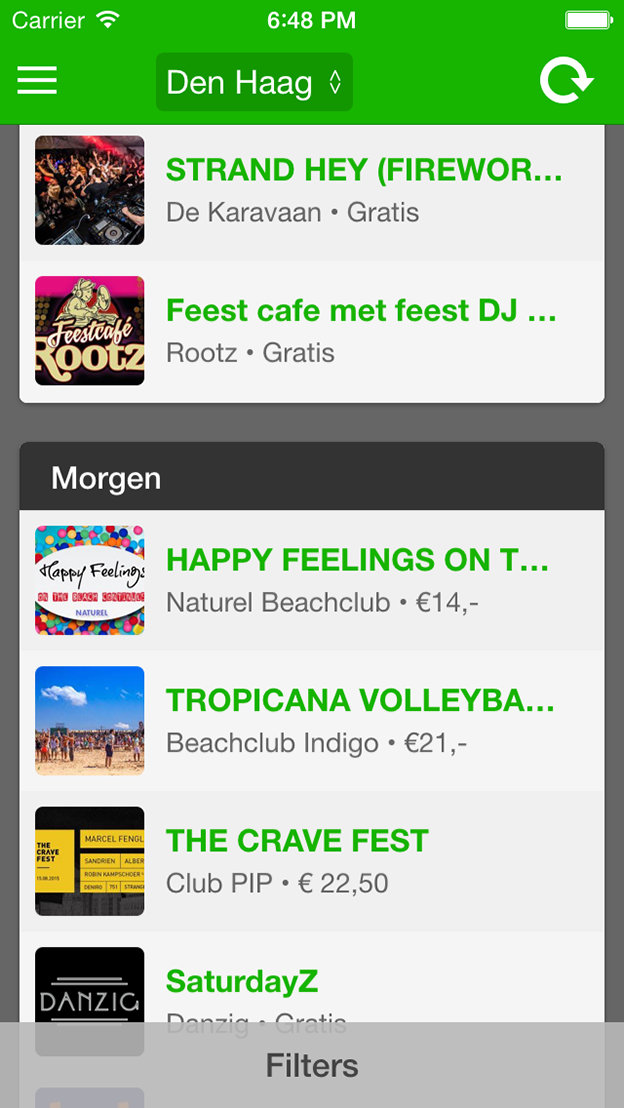 GoneOut screenshot hoofdmenu